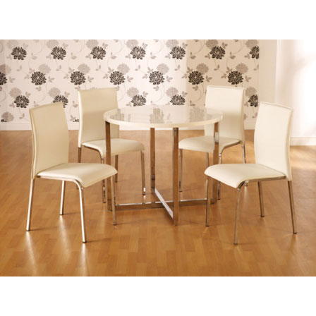 Charisma hi gloss white round dining table 4 chairs - Round white gloss dining table ...